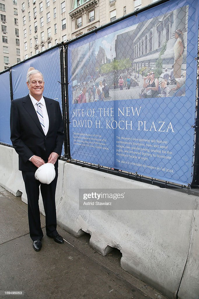Philanthropist, David H. Koch stands in the future site of the new David H. Koch Plaza during the Fifth Avenue Plaza Groundbreaking at the Metropolitan Museum of Art on January 14, 2013 in New York City.