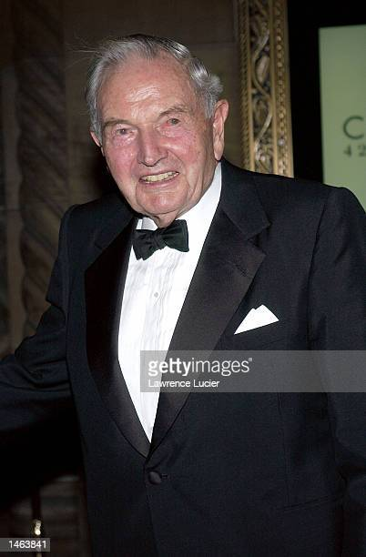 Philanthropist David Rockefeller arrives at the 7th Annual National Arts Awards October 7 at Cipriani's 42nd St in New York City