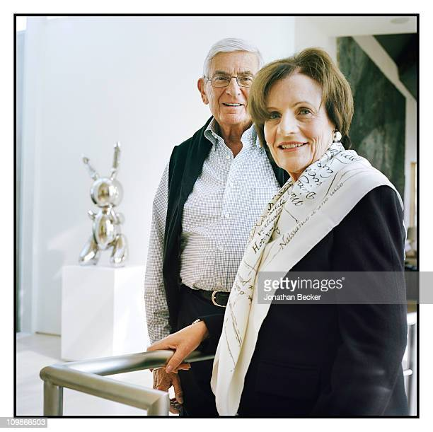 Philanthropist Eli Broad and wife Edythe Broad are photographed at home for Vanity Fair Magazine on April 24 2010 in Brentwood California Published...