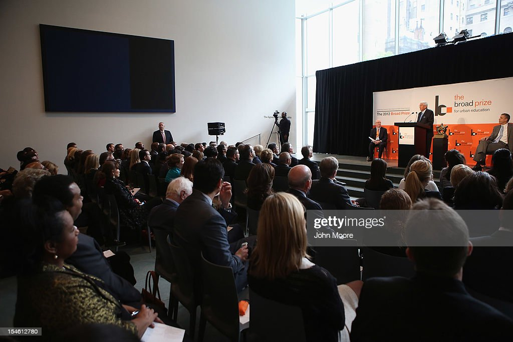 Philanthropist Eli Broad speaks before The Broad Prize for Urban Education was awarded Miami-Dade County Public Schools on October 23, 2012 in New York City. The award recognizes a large school district making the greatest progress nationwide in raising overall student achievment while reducing achievement gaps in low-income and minority students. Miami-Dade, a five-time finalist, will receive $550,000 in college scholarships for its high school seniors. The three other finalists, Corona Norco, Houston and Palm Beach, each receive $150,000 in scholarships.