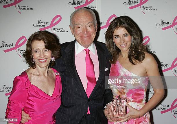 Philanthropist Evelyn Lauder Estee Lauder Companies chairman of the board Leonard Lauder and Elizabeth Hurley attend the Humanitarian Award from The...