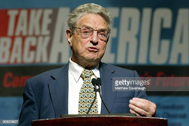 Philanthropist George Soros speaks at the Take Back America Conference June 3 2004 in Washington DC The conference aims to unite progressive issue...