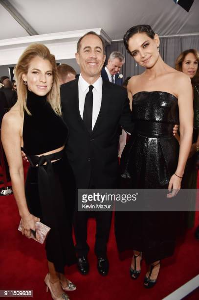 Philanthropist Jessica Seinfeld comedian Jerry Seinfeld and actor Katie Holmes attend the 60th Annual GRAMMY Awards at Madison Square Garden on...