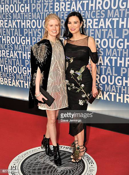 Philanthropist Laura ArrillagaAndreessen and Wendy Murdoch attend the Red Carpet at the 5th Annual Breakthrough Prize Ceremony at NASA Ames Research...