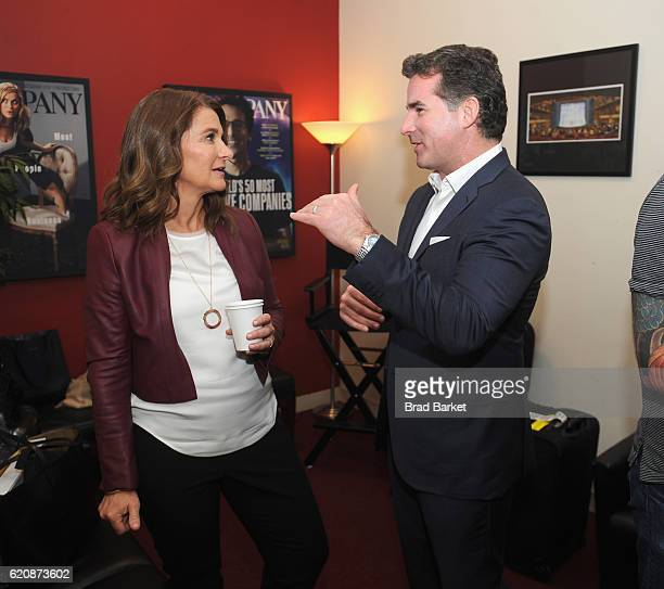 Philanthropist Melinda Gates and Under Armour CEO Kevin Plank attend the Fast Company Innovation Festival 2016 Melinda Gates Facebook's Regina Dugan...