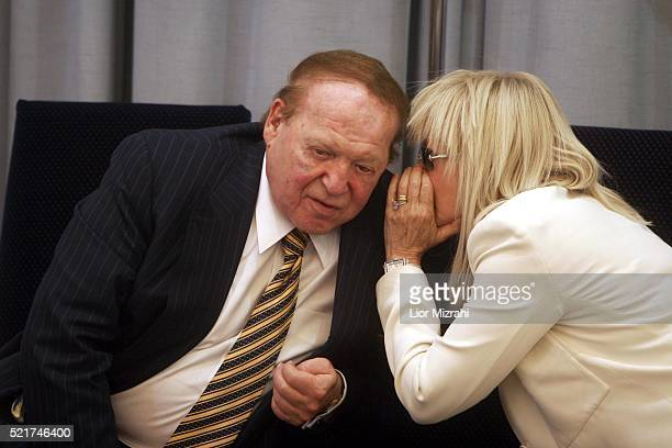 Philanthropist Sheldon Adelson and his wife Miriam Adelson are seen during a ceremony in The President house on August 12 2007 in Jerusalem Israel