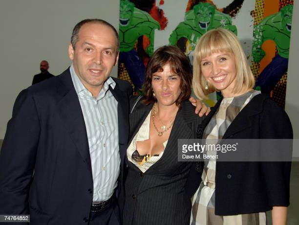 Philanthropist Victor Pinchuk and wife with artist Tracey Emin attend the private view of Jeff Koons Hulk Elvis at the Gagosian Gallery on June 18...