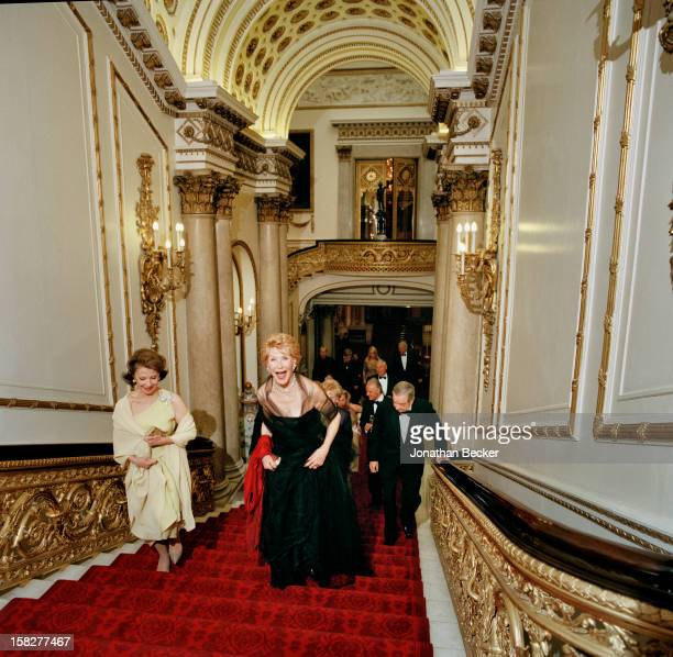 Philanthropists Cecile Zilkha and Betsy Bloomingdale are photographed for Vanity Fair Magazine on June 21 2003 at Buckingham Palace in London England...