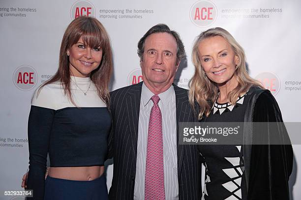 Philanthropists Laura Nicklas Brent Nicklas and Bonnie Pfeifer Evans pose during the 2016 ACE Moulin Rouge Gala at The High Line Hotel on May 19 2016...