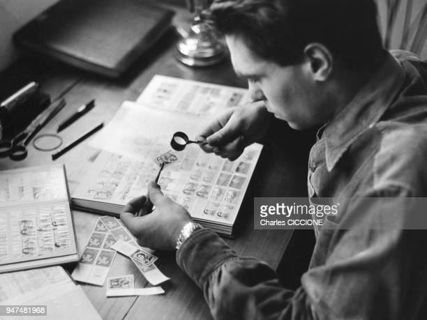 Philatéliste complétant ses ablums de timbres
