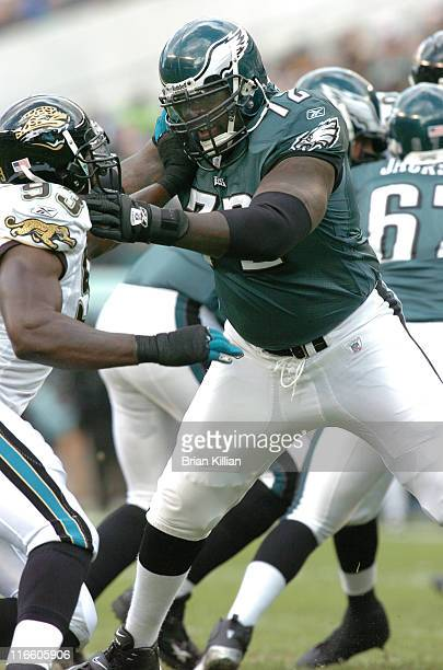 Phildelphia Eaglestackle William Thomas battles Jacksonville Jaguars defensive end Bobby McCray Sunday October 29 2006 at Lincoln Financial Field in...