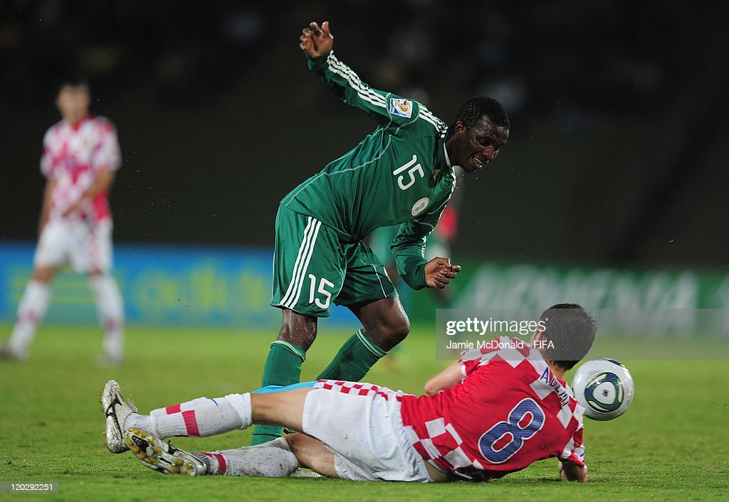 Philemon Daniel of Nigeria battles with Arijan Ademi of Croatia during the FIFA U-20 World Cup Group D match between Croatia and Nigeria at the Estadio Centenario on August 3, 2011 in Armenia, Colombia.