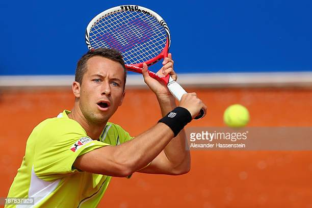 Philiipp Kohlschreiber of Germany plays a back hand during his 2nd round match against Evgeny Korolev of Khazakstan of the BMW Open at Iphitos tennis...