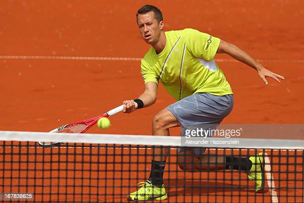 Philiipp Kohlschreiber of Germany plays a fore hand during his 2nd round match against Evgeny Korolev of Khazakstan of the BMW Open at Iphitos tennis...
