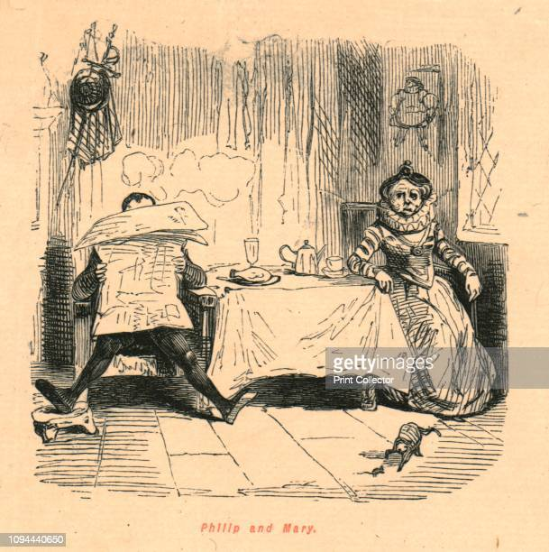 Philip and Mary' 1897 King Philip II of Spain and Queen Mary I of England at breakfast Philip hides behind an anachronistic newspaper while Mary...