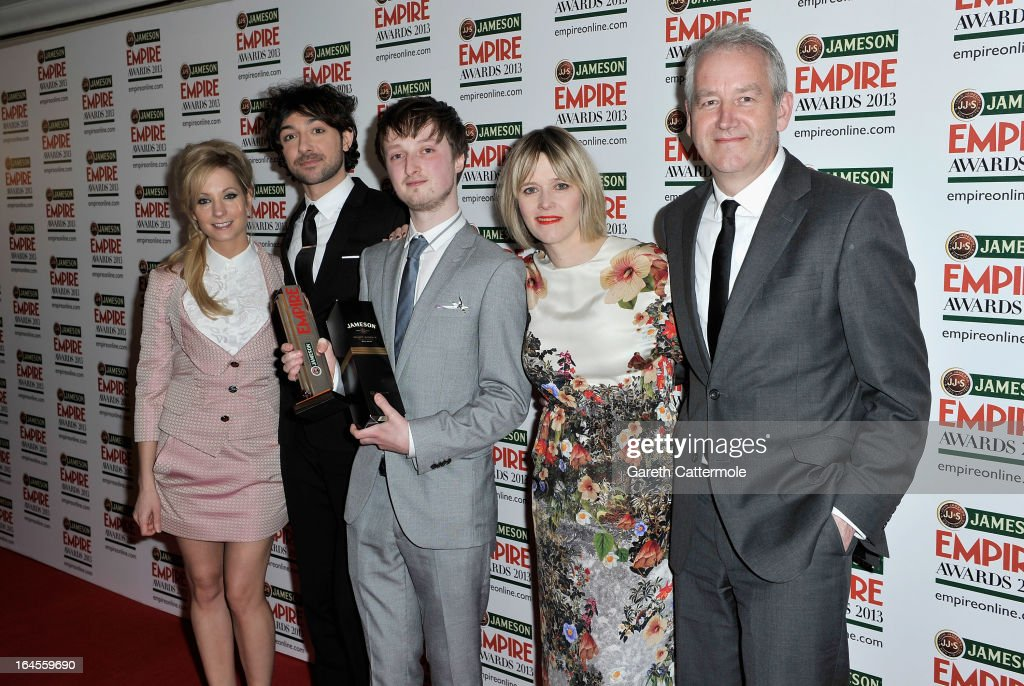 Philip Askins (C)with the Done in 60 Seconds award with presenters Joanne Froggatt, Alex Zane, Edith Bowman and guest at the Jameson Empire Awards 2013 at Grosvenor House on March 24, 2013 in London, England.