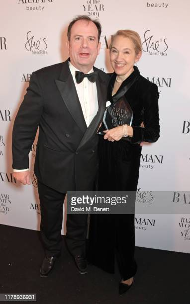 Philip Astor and Justine Picardie, winner of the Woman of the Year Award, attend the Harper's Bazaar Women of the Year Awards 2019, in partnership...