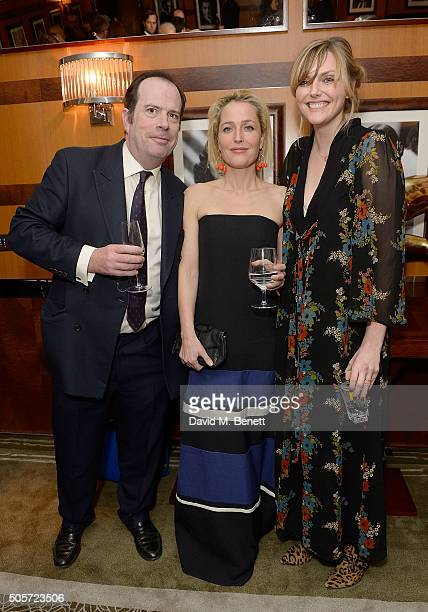 Philip Astor Gillian Anderson and Sophie Dahl attend a dinner in honour of Justine Picardie to celebrate the book 'Dior by Avedon' at the Beaumont...