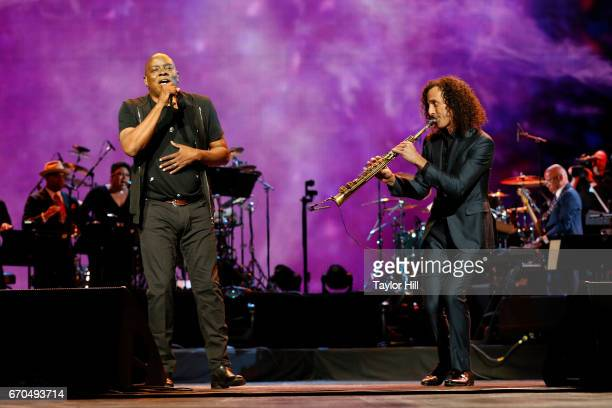 Philip Bailey of Earth Wind Fire and Kenny G perform during the 2017 Tribeca Film Festival Opening Gala premiere of 'Clive Davis The Soundtrack of...