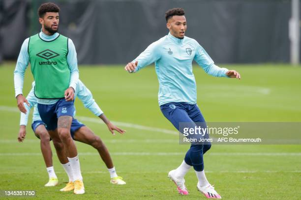 Philip Billing and Lloyd Kelly of Bournemouth during a training session at the Vitality Stadium on October 07, 2021 in Bournemouth, England.