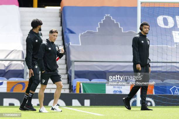 Philip Billing Harry Wilson and Dominic Solanke of Bournemouth before the Premier League match between Everton FC and AFC Bournemouth at Goodison...