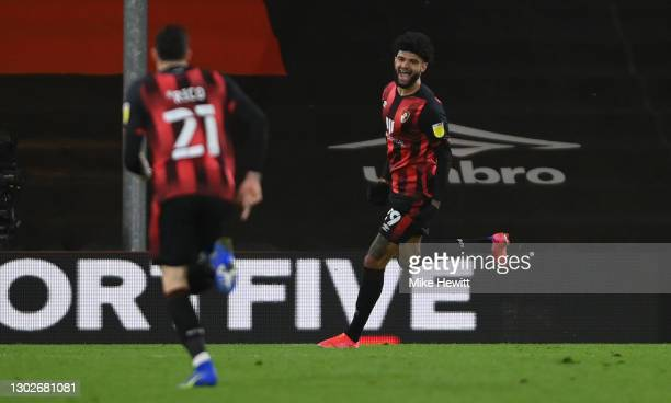 Philip Billing of AFC Bournemouth celebrates after scoring their side's first goal during the Sky Bet Championship match between AFC Bournemouth and...