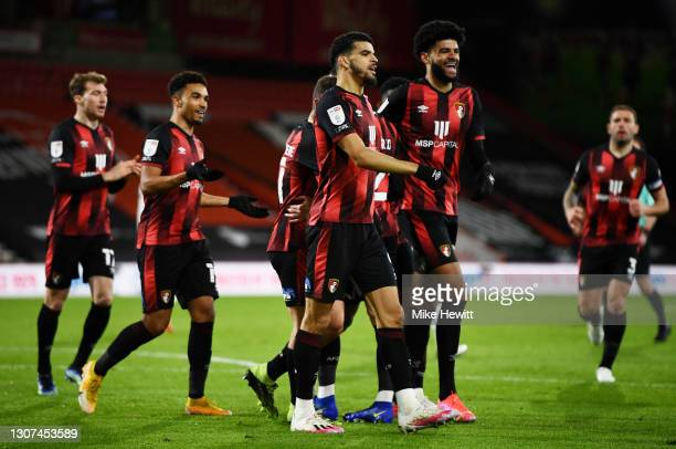 Philip Billing of AFC Bournemouth celebrates with team mate Dominic Solanke after scoring their side's first goal during the Sky Bet Championship...
