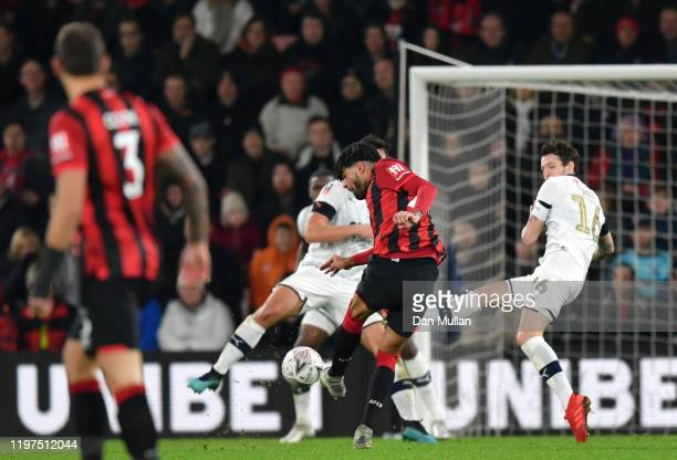Philip Billing of AFC Bournemouth scores his team's third goal during the FA Cup Third Round match between AFC Bournemouth and Luton Town at Vitality...