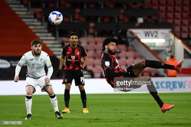 Philip Billing of AFC Bournemouth scores their side's first goal during the Sky Bet Championship match between AFC Bournemouth and Swansea City at...