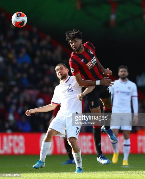 Philip Billing of AFC Bournemouth wins a header with pressure form Mateo Kovacic of Chelsea during the Premier League match between AFC Bournemouth...