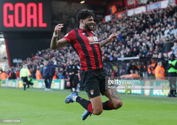 Philip Billing of Bournemouth celebrates after he scores a goal to make it 1-0 during the Premier League match between AFC Bournemouth and Aston...