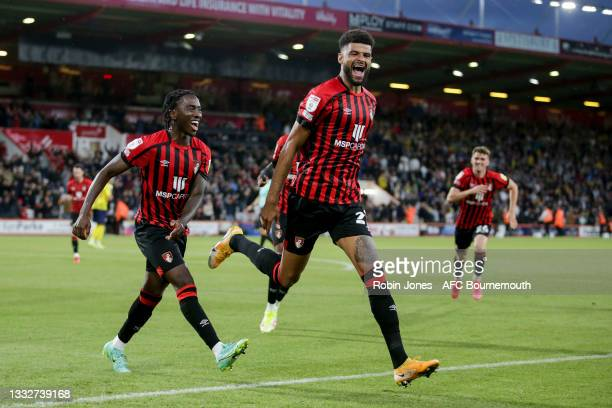 Philip Billing of Bournemouth celebrates after he scores a goal to make it 2-1during the Sky Bet Championship match between AFC Bournemouth and West...