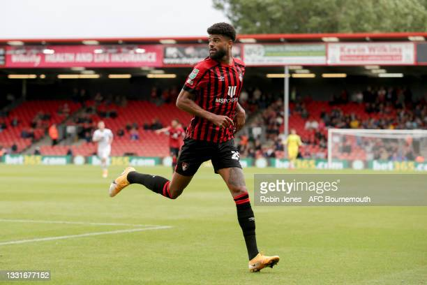 Philip Billing of Bournemouth during the Carabao Cup 1st Round match between AFC Bournemouth and MK Dons at Vitality Stadium on July 31, 2021 in...