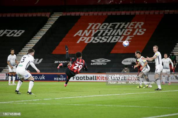 Philip Billing of Bournemouth scores a goal to make it 1-0 during the Sky Bet Championship match between AFC Bournemouth and Swansea City at Vitality...
