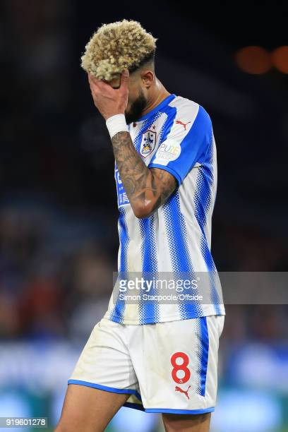 Philip Billing of Huddersfield looks dejected during The Emirates FA Cup Fifth Round match between Huddersfield Town and Manchester United at the...