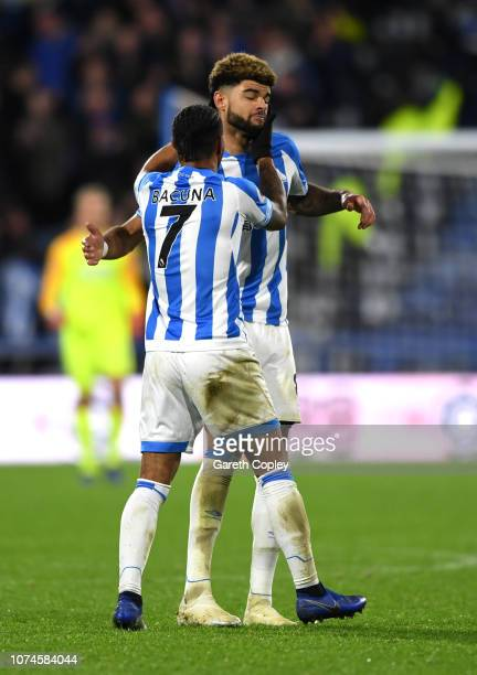 Philip Billing of Huddersfield Town celebrates after scoring his team's first goal with Juninho Bacuna of Huddersfield Town during the Premier League...