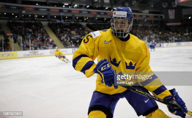 Philip Broberg of Sweden versus Finland at the IIHF World Junior Championships at the Save-on-Foods Memorial Centre on December 26, 2018 in Victoria,...