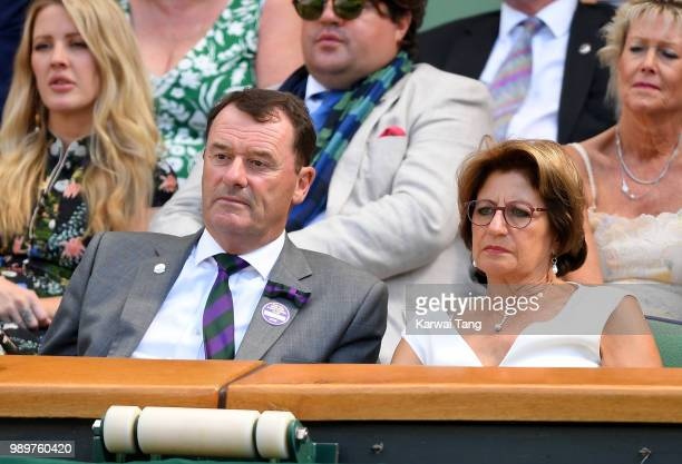 Philip Brook Chairman of the All England Lawn Tennis Club and Lynette Federer in the royal box on day one of the Wimbledon Tennis Championships at...