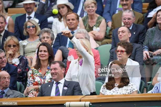 Philip Brook Martina Navratilova Catherine Duchess of Cambridge Billie Jean King attend day twelve of the Wimbledon Tennis Championships at the All...