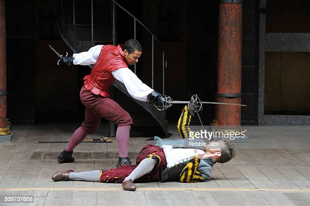 Philip Cambus as Mercutio and Ukweli Roach as Tybalt in a production of William Shakespeare's play Romeo and Juliet at Shakespear's Globe Theatre in...