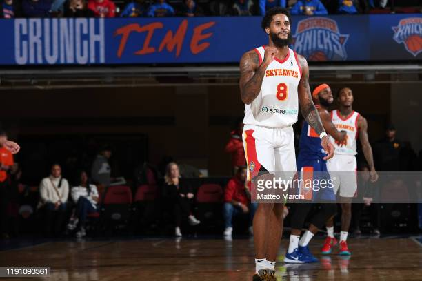 Philip Cofer of the College Park Skyhawks celebrates against the Westchester Knicks at the Westchester County Center on December 30 2019 in...
