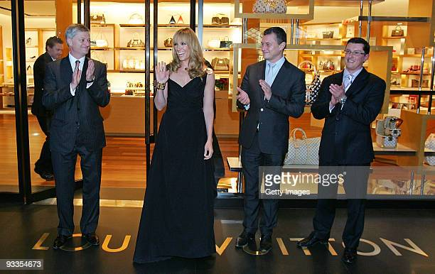Philip Corne Toni Collette JeanBaptiste Debains and David Marcun during the ribbon cutting ceremony at opening of the new Louis Vuitton store at...