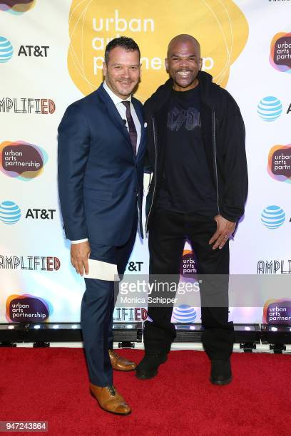 Philip Courtney and Darryl McDaniels attend the Urban Arts Partnership's AmplifiED Gala at The Ziegfeld Ballroom on April 16 2018 in New York City
