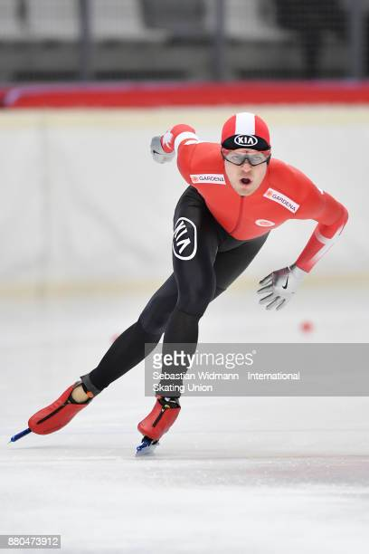 Philip Due Schmidt of Denmark performs during the Men 1500 Meter at the ISU Neo Senior World Cup Speed Skating at Max Aicher Arena on November 26...