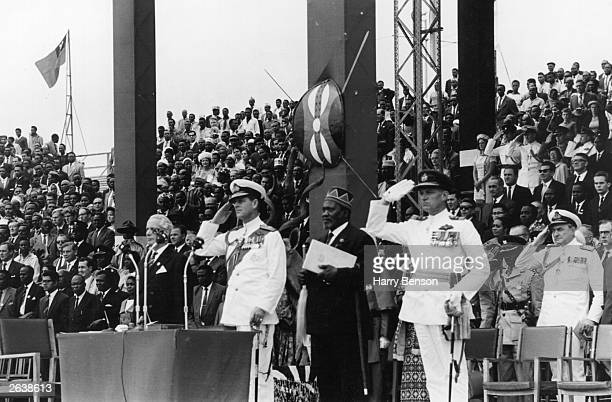 Philip Duke of Edinburgh standing next to Jomo Kenyatta Kenyan Politician at the Independence Day Celebrations