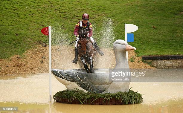Philip Dutton of the USA competes on his horse Woodburn during the cross country event on day three of The Land Rover Burghley Horse Trials on...