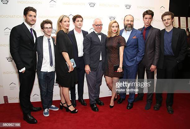 Philip Ettinger Noah Robbins Linda Emond Logan Lerman director James Schamus Sarah Gadon Danny Burstein Pico Alexander and Ben Rosenfield attends the...