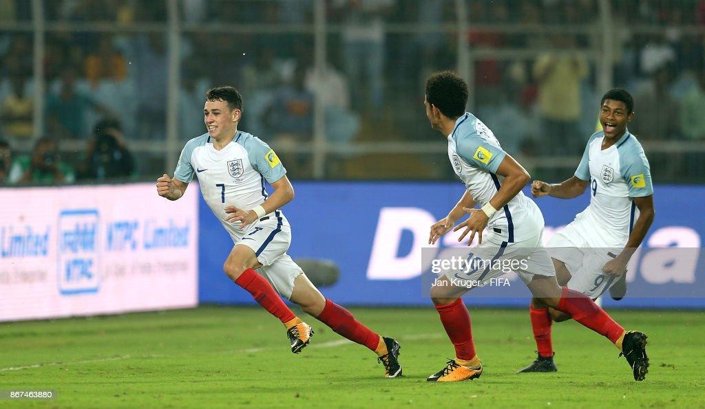 Philip Foden of England celebrates scoring the 3rd goal during the FIFA U-17 World Cup India 2017 Final match between England and Spain at Vivekananda Yuba Bharati Krirangan on October 28, 2017 in Kolkata, India.