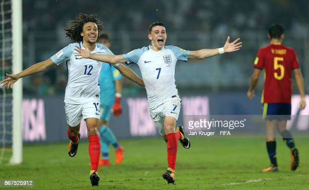 Philip Foden of England celebrates scoring the 4th during the FIFA U17 World Cup India 2017 Final match between England and Spain at Vivekananda Yuba...
