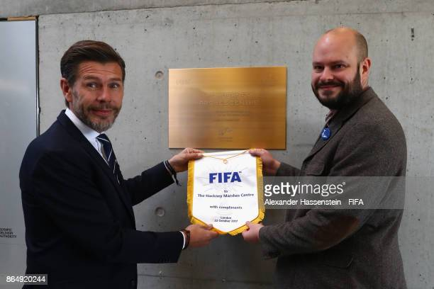 Philip Glanville, Mayor of Hackney and Zvonimir Boban pose for a photo during a visit to Hackney Marshes prior to The Best FIFA Football Awards at...